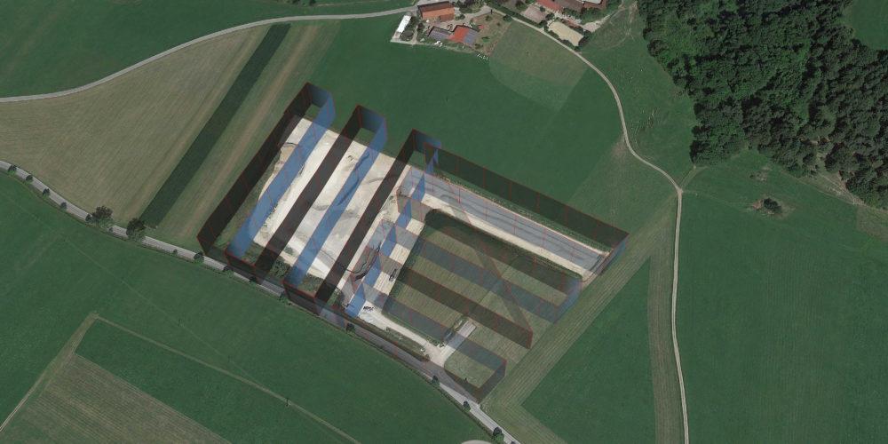 3D Drohnen Vermessung Kiesgrube Brutscher Waypoints [87653 Eggenthal]